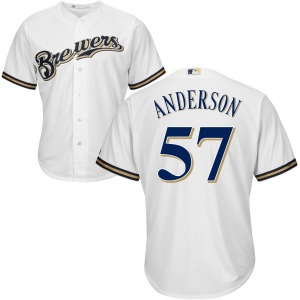 Men's Majestic Milwaukee Brewers Chase Anderson White Cool Base Jersey - Replica