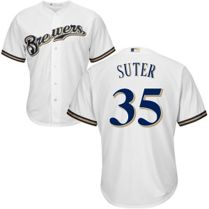 Men's Majestic Milwaukee Brewers Brent Suter White Cool Base Jersey - Authentic