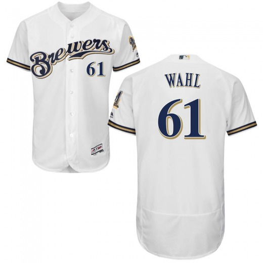 Men's Majestic Milwaukee Brewers Bobby Wahl White Flex Base Home Collection Jersey - Authentic