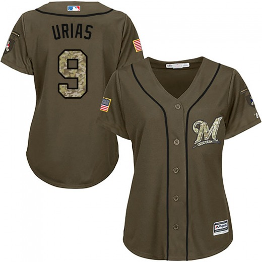 Women's Majestic Milwaukee Brewers Luis Urias Green Salute to Service Jersey - Authentic